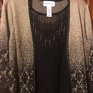Women's Alfred Dunner top with attached Cardigan